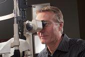 Optometrist Using Bio Microscope