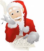 Santa Claus Checking His Christmas List Or Replying To Childrens Letters Illustration