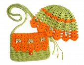 Knitted Set For Girls - Delicate Hat And Bag.