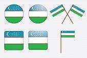 Badges With Flag Of Uzbekistan