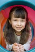 image of happy kids  - happy girl on playground - JPG