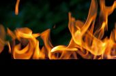 Flames With Black And Green Background