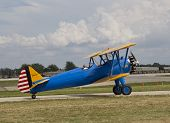 Us Army Bi Plane Fighter On Runway Side View