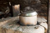 Indian cooking old deep pan (Karahi, kadhai)