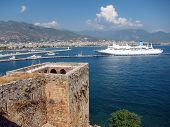 Cruise Ship and Red Tower Alanya