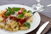 Fusilli pasta with sauce bolognese