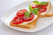 Bread with mozzarella tomatoes