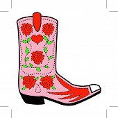 Cowgirl Boot And Roses Clip Art