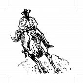 Rodeo Rider Black And White Line Art