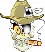 pic of ace spades  - Skull or Jolly Roger skeleton with an ace of spades in a cowboy hat wearing a patch over one eye and smoking a cigar with an evil look on his face - JPG
