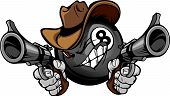 image of vaquero  - Cartoon image of a Billiards Eigthball with a face and cowboy hat holding and aiming guns - JPG