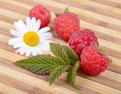 Fresh Ripe Raspberries With Leaf And White Camomile Flower