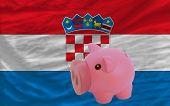Piggy Rich Bank And  National Flag Of Croatia