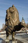 Irkutsk,RU-Nov.18,2012:Bronze figure of a mythical beast babr in Nov.18,2012 in Irkutsk, RU