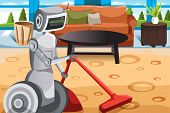 stock photo of homemaker  - A vector illustration of a robot vacuuming carpet - JPG