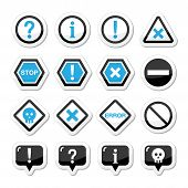 Computadora sistema vector icons - ADVERTENCIA, peligro, error