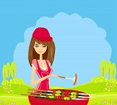 stock photo of frizzle  - Woman cooking on a grill on rural landscape - JPG