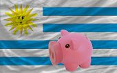 Piggy Rich Bank And  National Flag Of Uruguay