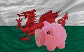 Reich Sparschwein und nationalen Flagge von Wales