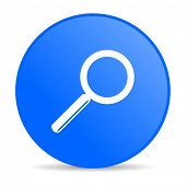 search blue circle web glossy icon