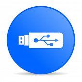USB azul círculo web glossy icon