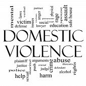 Domestic Violence Word Cloud Concept In Black And White
