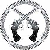 stock photo of crossed pistols  - Two crossed silver revolvers and bullets - JPG