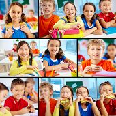 stock photo of diligent  - Collage of diligent schoolchildren in school - JPG