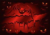 Red Banner With Evil Bats