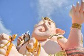 pic of ganesh  - Close up of Ganesh strange form of clound look like smoke shoot from Head and Hand of Ganesh - JPG