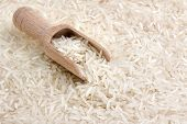 basmati rice with wooden scoop