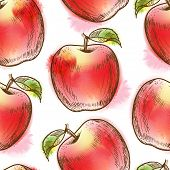 Seamless pattern with red apple