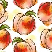 Seamless pattern with peach