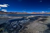 Salt Lake Tso Kar. Himalaya Mountains Landscape With Tso Kar Lake Panorama. India, Ladakh