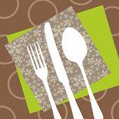 Projeto de restaurante retro com guardanapos e talheres silhueta