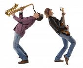 stock photo of sax  - The duo of musicians with guitar and saxophone on a white background - JPG