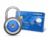Secure Payment. Credit card and padlock