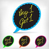 Buy one get one, promotional sale stickers set.