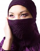Arabic Oriental Makeup,portrait Of Asian Kazakh Woman With Professional Make-up, Isolated On White B