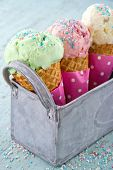 Sprinkles On Three Ice Cream Cones