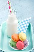 Vintage Setting Of Colorful Pastel Macaroons