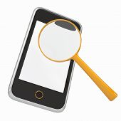 Smartphone and a magnifying glass