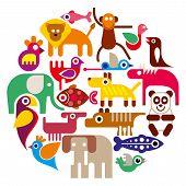 Zoo Animals - Round Vector Illustration