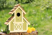 Fancy wooden bird house.