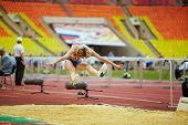 MOSCOW - JUN 11: Female athlete in long jump place at Grand Sports Arena of Luzhniki OC during International athletics competitions IAAF World Challenge Moscow Challenge, Jun 11, 2012, Moscow, Russia.