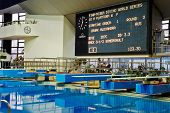 MOSCOW - APR 13:  Display with results at competitions on syncronized springboard diving in Pool of
