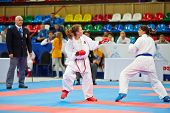 MOSCOW - JUN 9: Fighting episode between female participants of 10th Team Championship of Europe on
