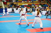MOSCOW - JUN 9: Young girls fighters in fight at 10th Team Championship of Europe on karate at OC Lu