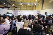 ZHUKOVSKY - JUNE 25: Photographers and journalists at press conference at second International Forum