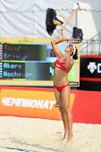 MOSCOW - JUNE 6: Woman from USA returns ball in Country Quota at tournament Grand Slam of beach voll